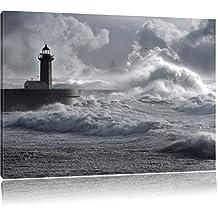 onde di tempesta Faro Portogallo, formato: 100x70 su tela, XXL enormi immagini completamente Pagina con la barella, stampa d'arte sul murale con telaio, più economico di pittura o un dipinto a olio, non un manifesto o un banner,