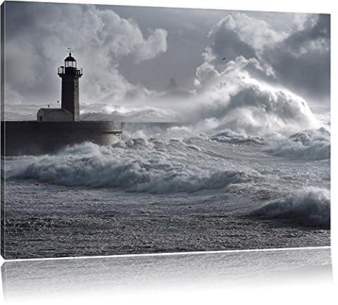 Les ondes de tempête Lighthouse Portugal, Format: 80x60 sur toile, XXL énormes Photos complètement encadrée avec civière, impression d'art sur murale avec cadre, moins cher que la peinture ou une peinture à l'huile, pas une affiche ou une bannière,