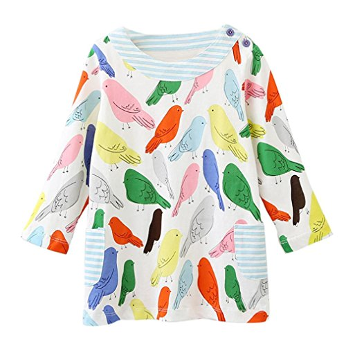 Amlaiworld Mädchen langarm bunt Pferd blumen Baum drucken kleider kinder Niedlich t-shirt kleidung(2-7Jahren) (6 Jahren, E) (Blumen-kinder-t-shirt)