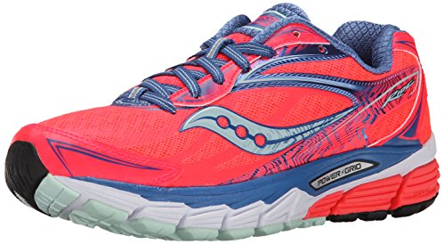 Saucony, PowerGrid Ride 8, Scarpe running donna, Coral/Blue/Sea, 7,5