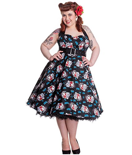 a50694bd5b00f2 Hell Bunny Floral 50s DRESS Blue Rockabilly GEISHA M 12