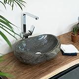 WOHNFREUDEN Natur-Stein-Aufsatz-Waschbecken 50 cm OVAL rundum poliert Gäste WC