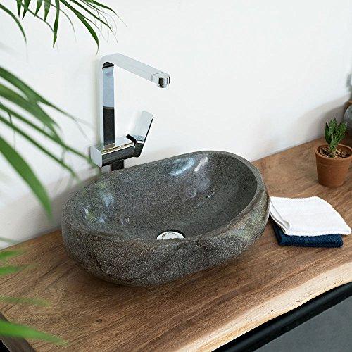 wohnfreuden Naturstein - Waschbecken 50 cm Steinwaschbecken oval grau