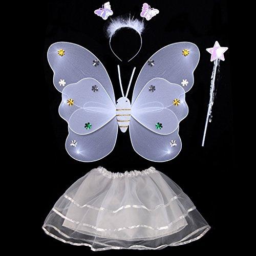 Damjic Kostüme Kostüme Engel Schmetterlinge Leuchtende Spielzeug Halloween Fairy Wings K (White Ghost Lady Kostüm)