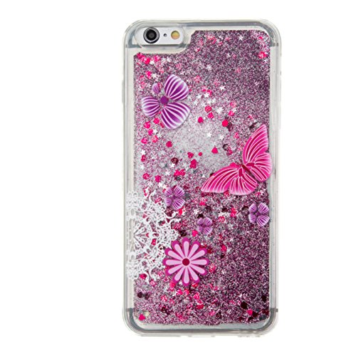 For iPhone 6 PLUS 5.5[CUTE SPARKLING]Novelty Creative Liquid Glitter Design Liquid Quicksand Bling Adorable Flowing Floating Moving Shine Glitter Case -GOLD EIFFEL PURPLE BUTTERFLY