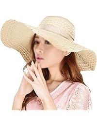 La Haute Sombrero de paja, de ala ancha, para mujer, plegable, con lazo, para la playa y el sol