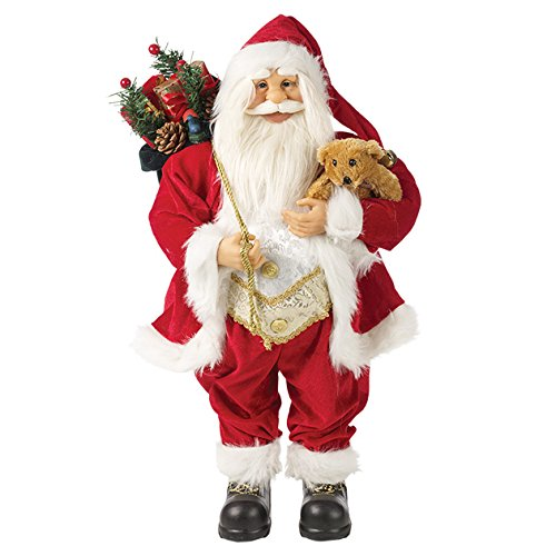 The Christmas Workshop 81450 Traditionelle Standfigur Weihnachtsmann/Santa Claus, 45 cm, Rot