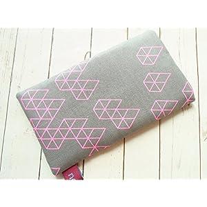 nelomi Handytasche Handyhülle dunkelgrau rosa/neon geometrisch,maßgeschneidert für jedes Handymodell