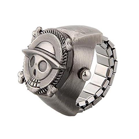 SODIAL(R) Mini Montre a anneau vintage mignonne de crane de pirate en metal
