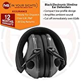 In Your Sights Slimline electronic shooting ear defenders/Clay pigeon hunting ear muffs (Black)