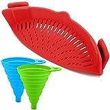 Silicone Snap Filtro con 2 Pieghevoli Imbuti, FineGood Mani Libere Calore Clip-on Resistente Colander Beccuccio per Pasta Verdure Tagliatelle Piatto Ciotola Pan - Rosso