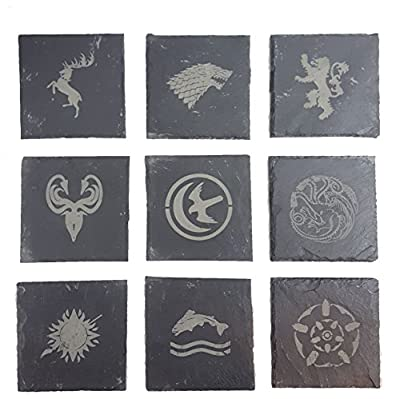 Game of Thrones Inspired Engraved House Sigils - Slate Coasters - Pack of 9