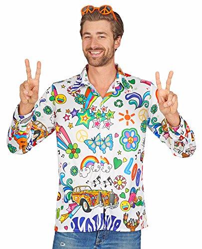 Andrea Moden Hippie Herren Hemd Floyd - Bunt Gr. - Berühmten 70er Jahre Kostüm