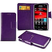 (Purple) Blackberry Storm 9500 Mega sottile Protezione in ecopelle ventosa Custodia a portafoglio Pelle Copertura Caso Cover con carta di credito/debito Slot Aventus
