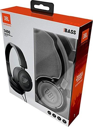 JBL T450 On-Ear Kopfhörer Ohraufliegend Leicht mit 1-Tasten-Fernbedienung und Mikrofon Kompatibel mit Apple und Android Geräten – Schwarz - 8