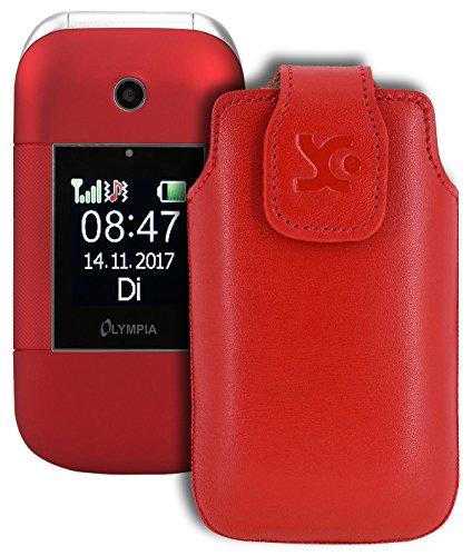 Suncase Original Tasche für Olympia Janus | Hülle Leder Etui Handytasche Ledertasche Schutzhülle Case in rot