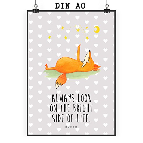 Mr. & Mrs. Panda Poster DIN A0 Fuchs Sterne - Fuchs, Füchse, tröstende Worte, Spruch positiv,...