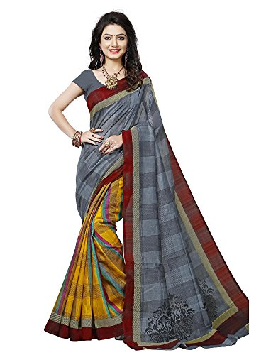 SAREE MALL art silk Saree With Blouse Piece (SRJ006_Grey_Free Size)