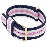 MOMENTO 18mm Bracelet de Montre NATO Nylon Homme et Femme - Acier Boucle - Rayé Elastique Textile Tissue - Vegan - Or | Bleu Blanc Rose