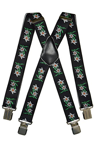 Hosenträger extra starken für Herren mit 4 Clips X-Form - 4cm. Edelweiß-Design, Schwarz