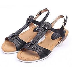 Pump 3cm Wedge Heel Open Toe D'orsay Slingback Knöchelriemen Römische Sandalen Frauen Bequeme T-Strap Sommer Strand Schuhe Casual Schuhe Eu Größe 36-41 ( Color : Black , Size : 41 )