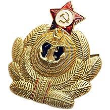 Ganwear®, Distintivo metallico dell'esercito russo sovietico, Per cappelli in pelo, Con stella rossa e aquila della marina militare sovietica