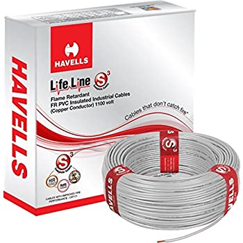 Havells Lifeline Cable WHFFDNEA1X75 0.75 sq mm Wire (Grey)
