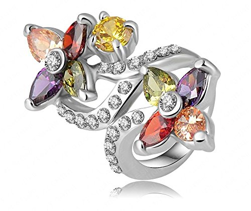 Colorful Crystal Flower Rings Jewelry Platinum Plating Finger Ring Fashion Jewelry for Girls Ladies by JewelQueen