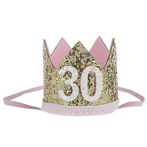 30th Birthday Party Headwear - Elastic Tiara Glitter Crown