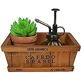 Lusee® madera retro Maceta Caja de Planta Suculenta Flor Herbácea de Madera Rectángulo Decoración para Jardín Breve párrafo 20.5 * 20.5 * 9.5cm