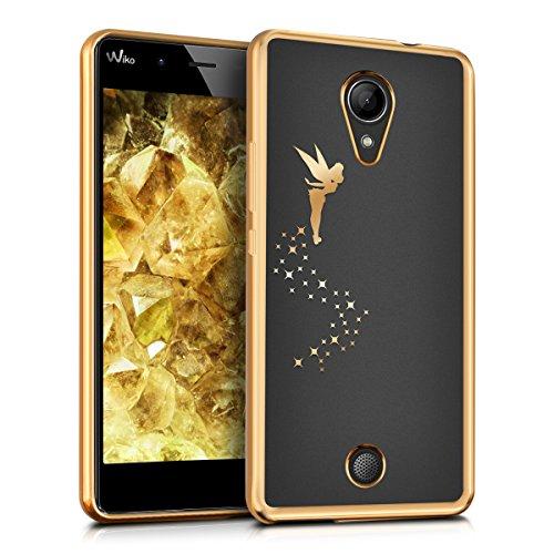 Kwmobile cover per wiko tommy - custodia protettiva in silicone tpu cristallo trasparente - back cover case cellulare oro trasparente