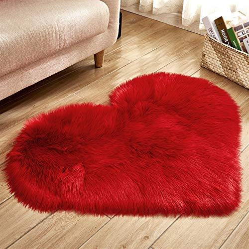 Liveinu tappeto shaggy pelo alto pelo lungo forma di cuore tappeti in pelle di agnello artificiale decorazione per camera da letto,soggiorno,divano,giaciglio 30x40cm rosso