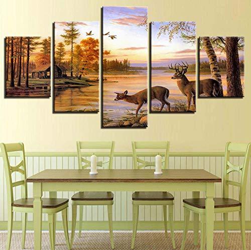 tela hd impronte poster wall art 5 pezzi foresta cervi dipinti lago paesaggio al tramonto foto salotto arredamento