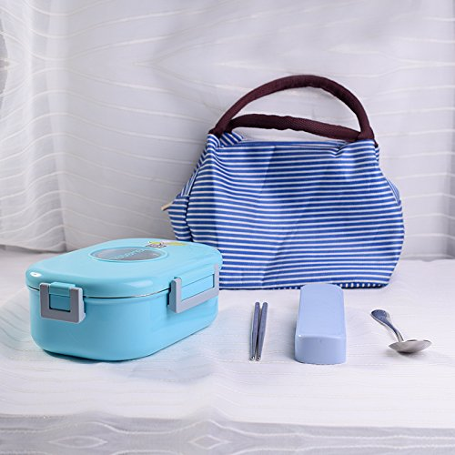 yxhflo Edelstahl weniger Fett essen Warm für Lunch Box Bento Box mit Deckel rechteckige Mensa Durchführung einfach nach 1-Tier, Blau Lunch Box zu tragen Besteck Plus Die isolierte Tasche 980 ml (Mensa-tasche)