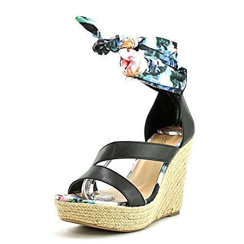 Thalia Sodi Pasa Femmes Synthétique Sandales Compensés Black Floral
