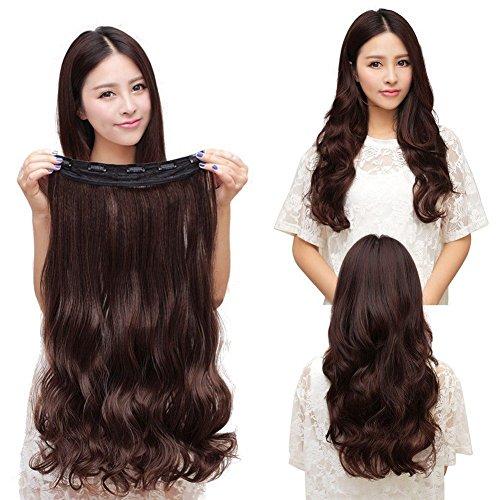 Magik 3/4 Voller Kopf-Haar-Verlängerungen Klipp gerade lockig m / 5 Clips, Lang (Dunkelbraun-Lockig) -