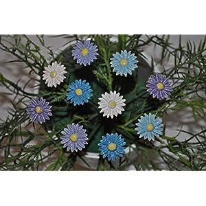 10 Keramikblumen: Gänseblümchen, Blau-Variation ca. 2,5 cm von SylBer-Ceramics aus Markkleeberg