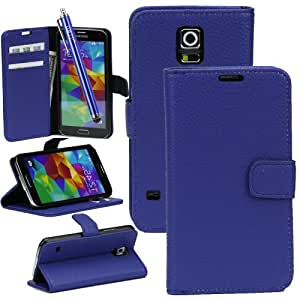 OMIU Lichee Pattern Leather Case with Credit Card Slot and Stylus Pen for Samsung Galaxy S5 i9600 - Blue