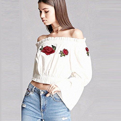 ❤️Manadlian Chemisier Blouse Femme Ete 2018,Femmes Débardeurs T-Shirt Off Épaule Broderie Blouse Casual Summer Blanc