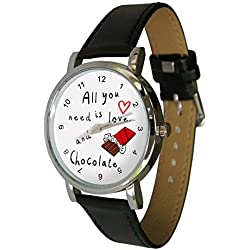 All you need is love & Chocolate design Watch . Genuine Leather Strap. perfect for any chocolate lover