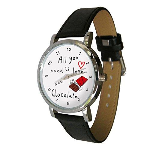 All You Need Is Love & Schokolade Design Armbanduhr. Echtes Leder Strap. Perfekte für jeden Speck Lover -