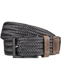 STRELLSON Belt ceinture hommes ceinture de tressé ceinture en cuir gris