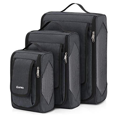 Große Packtasche 3er Set, Gonex Business Packing Cubes 3 Farbauswahl Kleidertaschen, Dunkelgrau -