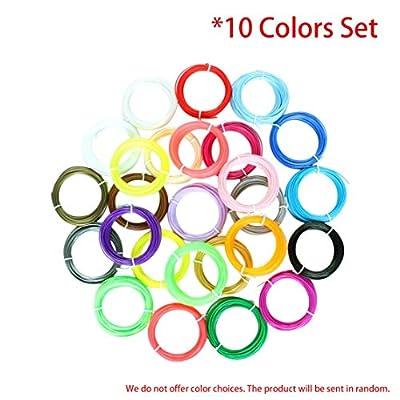 LouiseEvel215 3D-Druck Stift Filament Set 10 Farben Präzise 1,75 mm Durchmesser ABS Filament 10M oder 5M / Farbe 3D-Drucker liefert Materialien