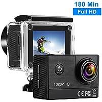 TOPELEK Caméra Sport Étanche HD 1080P 16MP Batterie 1350mAh Appareil Photo Étanche 30M Caméra Embarqué 170 ° Grand-Angle, 180 Minutes Temp d'Utilisation