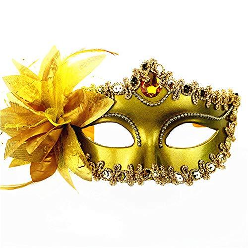 Clluzu Kostüm Masken Feder Große Lilie Halloween Venezianische Prinzessin Prom Maske Spitz Galvanikfarbe Seite Blume 6,24 * 3,9 Zoll 3 STÜCKE