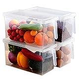 LIYANCMX Contenitore per Alimenti da Cucina Frigorifero Scatola di conservazione per Alimenti Coperchio di plastica Trasparente con Manico 4 Set Contenitori per Cereali