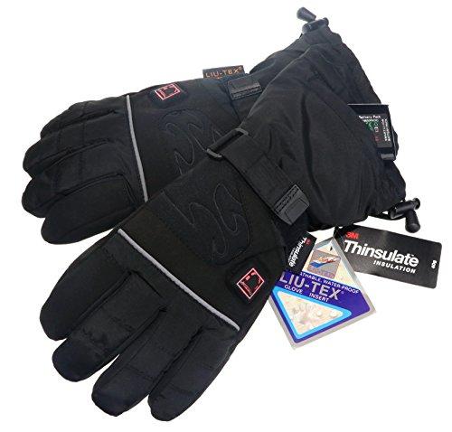 Thermrup Beheizbare Handschuhe mit 4 Stufen Temperaturregler, wasserabweichend atmungsaktive mit Thinsulate 3M, Akkubetrieb (M) (Led Polizei Handschuhe)