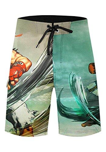 Fighter Leichter Street (Musterbrand Street Fighter Badeshorts Herren Ryu Badehose Boardshorts Grün M)