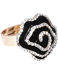 Shayna Jewellery Black & Gold-Toned Stone-Studded Adjustable Ring For Girls And Women